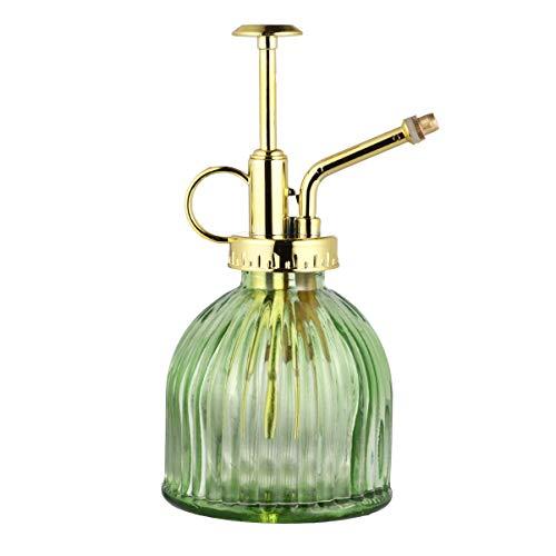 Hemoton - Botella pulverizadora de cristal transparente, estilo vintage, 6,5 cm, con bomba superior de plástico de bronce transparente
