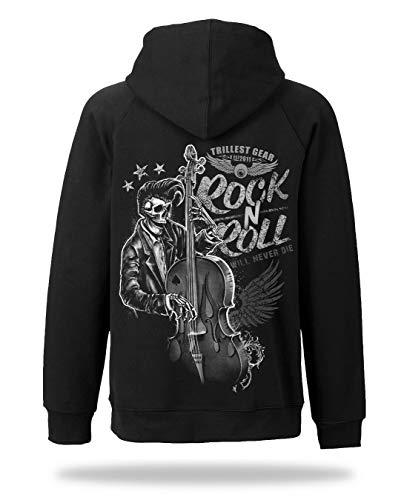 Rock \'N ROLL Will Never DIE - Herren Sweatjacke Zip Hoodie Kapuze Pullover (L)