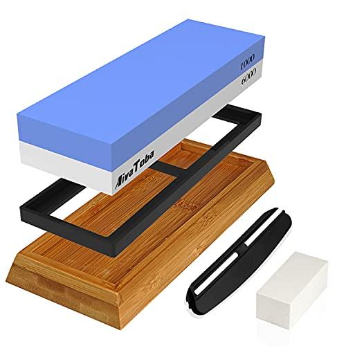 AivaToba Whetstone Knife Sharpening Stone 2 Side Grit 1000/6000 Whetstone Knife Sharpener, Waterstones Sharpening Set Water Stone for Kitchen with Angle Guide, NonSlip Bamboo Base, Flattening Stone