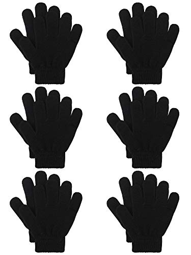 Cooraby 6 Pairs Kids Knitted Magic Gloves Teens Warm Winter Stretchy Full Fingers Gloves (Black, 6-12 Years)