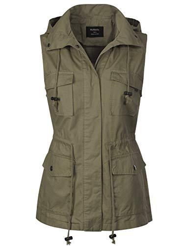 MixMatchy Women's Drawstring Lightweight Loose Fit Sleeveless Vest Utility Jacket Light Olive 1XL