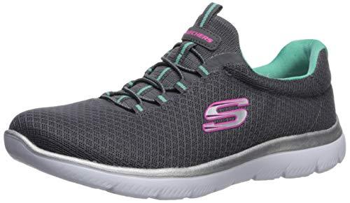 Skechers Women's Summits Sneaker, Charcoal/Green, 7 W US