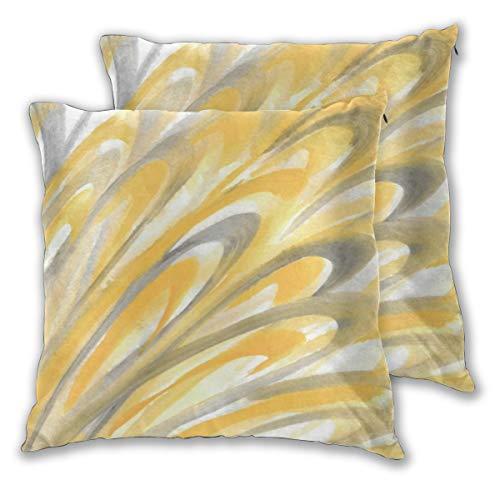 Juego de 2 fundas de cojín, diseño de pétalos amarillos y grises, cuadradas, fundas de almohada decorativas, fundas de almohada para dormitorio, sala de estar, 45 x 45 cm