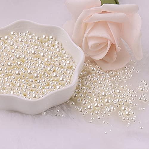 2/3/4/5 mm Perlas sin agujeros Perlas redondas Perlas de imitación de acrílico Diy para fabricación de joyas para manualidades de bricolaje Decoración 10g-China, Mix Beige, Mix 1.5-5mm 500Pcs