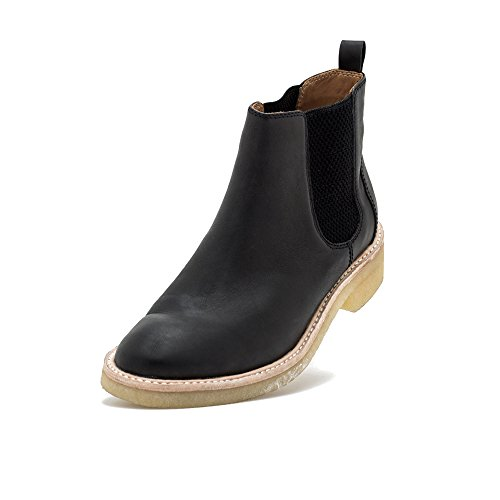 Rollie Women's Mira Chelsea Pull-On Leather Boot with Elastic Gusset Black Nubuck Crepe Sole Ankle Boot, 39 M EU