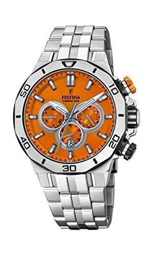 Festina Unisex Erwachsene Chronograph Quarz Uhr mit Edelstahl Armband F20448/C