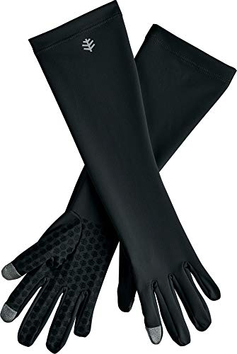 Coolibar UPF 50+ Unisex Bona UV Mid Length Gloves - Sun Protective (Medium- Black)