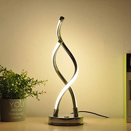 BarcelonaLED Lámpara de Mesa Moderna con Doble Espiral Hélice Luz LED Regulable Blanco Neutra 4000K para Mesita de Noche Salón Decoración Oficina