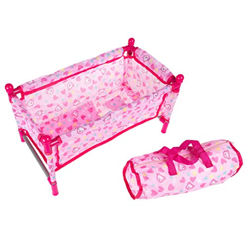 "Hey! Play! Baby Doll Bed & Playpen – Mini Pack & Play Crib for 15"" Dolls & Stuffed Animals – Pillow, Blanket & Carrying Bag Included, Brown/a (80-1604O1449)"