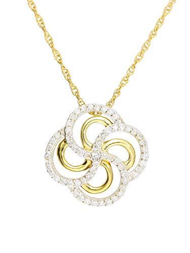 Halskette Mit Anhänger Gelbgold 750 Gold (18 Karat) Diamant 0,15ct. Brillant Kette 45cm 14mm x 14mm Diamantkette Damenkette Goldkette Ivy V0013532