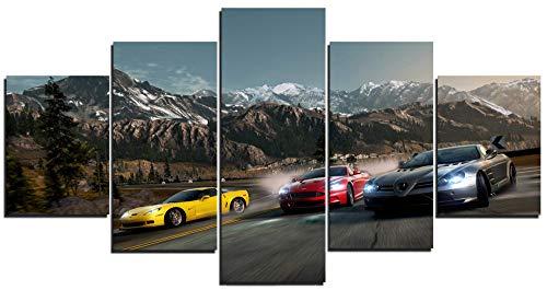 TYHC Need for Speed: Hot Pursuit Video Game Art Canvas Poster Decoración del hogar Arte de pared Arte 5 piezas pinturas para sala de estar HD impresiones (M,sin marco)