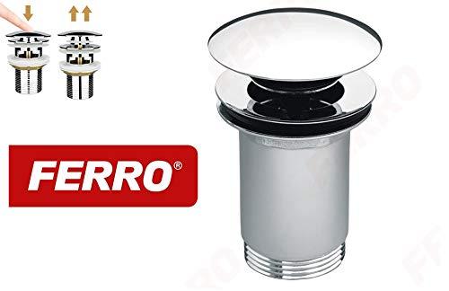 Ferro Succsale-Chrom Universal Click Ablaufgarnitur für Waschbecken & Waschtisch Modernes Pop-Up Click Clack Ventil – Ablaufventil mit Überlauf, Abflussgarnitur Werkzeugloser Einbau-S285B