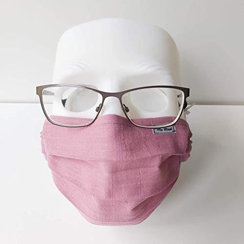 Baumwolle Maske, Leinenoptik Altrosa, Einlagig, Baumwolle 100%
