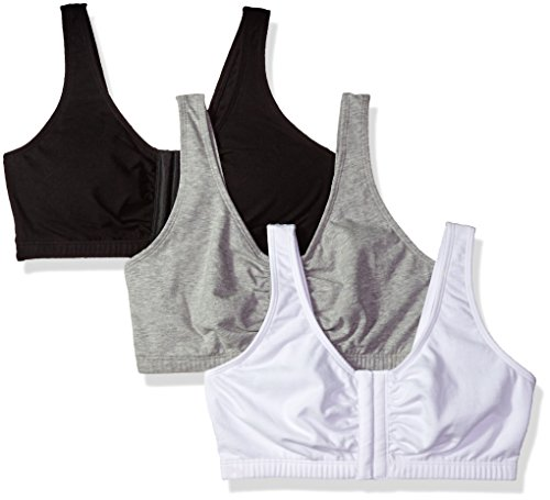 Fruit of the Loom Women's Front Close Builtup Sports Bra 3-Pack (one Set of Pads) Bra, Black/White/Heather Grey, 34
