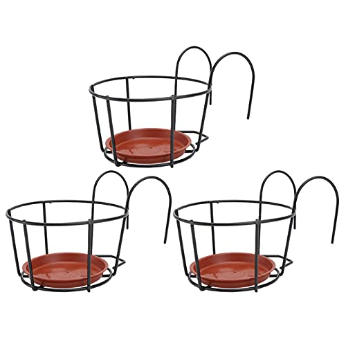 Yujue 3 Sets Hanging Flower Pot Rack, Hanging Railing Planter Baskets, Iron Art Hanging Baskets Flower Pot Holder, Iron Potted Plants Rack Over The Rail Fence Pot Stand For Balcony Porch Fence