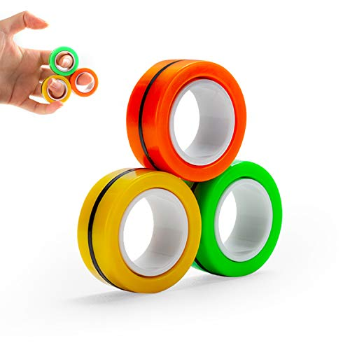 DOTSOG Magnetic Rings Toy Anti-Stress Fingertip Toys Anxiety Stress Relief Magical Ring Decompression Finger Game Trick Play Gadget for Adults Teen 3Pcs