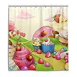 MyDaily Sweet Candy Land Duschvorhang 167,6 x 182,9 cm, schimmelresistent und wasserdichte Polyester-Dekoration Badezimmer Vorhang