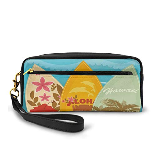 Pencil Case Pen Bag Pouch Stationary,Hawaiian Beach Surfboards on The Sand Exotic Summer Vacation Sport Vintage Style,Small Makeup Bag Coin Purse