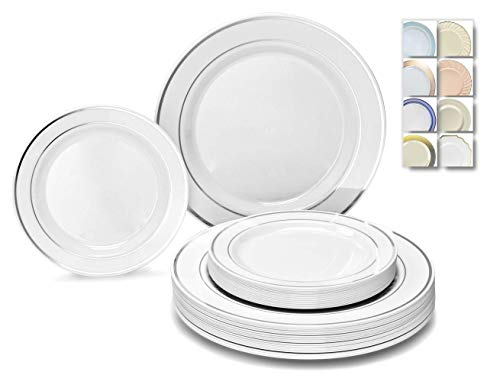 OCCASIONS 240 Plates Pack,(120 Guests) Heavyweight Premium Wedding Party Disposable Plastic Plates Set -120 x 10.5 Dinner + 120 x 7.5 Salad/Dessert (White & Silver Rim)
