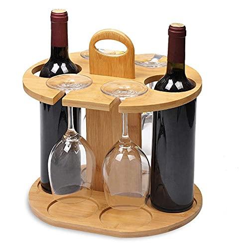 ZHANGLE Estante de madera para vino, soporte de vidrio con asa, puede contener 2 botellas y 4 vasos, con mango de madera, estante de cristal, fácil de montar para vino para el hogar y la cocina