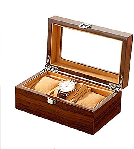 NYZXH 3 Slot Watch Box Soporte de Reloj con Pantalla de Tapa de Vidrio Mostrar Caja con Reloj extraíble Forro de Almohada Cierre de Metal de Gama Alta/marrón (Color : Brown)