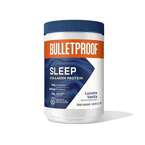 Vanilla Sleep Collagen Protein Powder, 3mg Melatonin with Magnesium, Chamomile, 10g Protein, 10.4 Oz, Bulletproof Keto Supplement for Better Sleep and Amino Acids for Healthy Skin, Bones and Joints