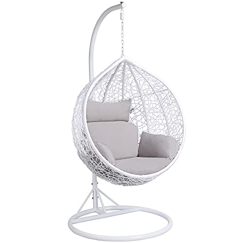 Yaheetech Hanging Swing Chair Garden Patio Indoor Outdoor Egg Chair Hammock with Stand Cushion and Cover,White
