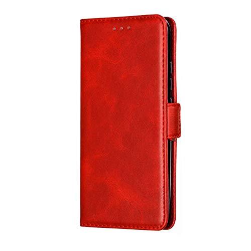Huawei P Smart Plus 2019 hoesje, schokbestendig premium lederen portemonnee hoesje zakelijk ontwerp Flip Notebook Cover met TPU binnenste schaal] [kaarthouders] [magnetische sluiting Kickstand beschermende huid Rood