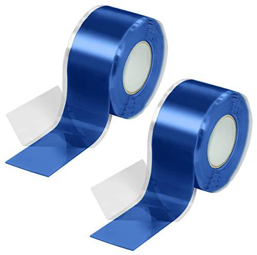 Poppstar 2x 3m selbstverschweißendes Silikonband, Silikon Tape Reparaturband, Isolierband und Dichtungsband (Wasser, Luft), 25mm breit, blau