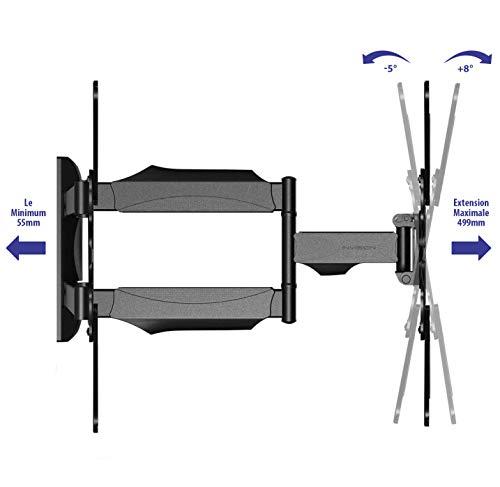 Invision Support TV Mural pour Écrans de 24 à 55 Pouces, Max VESA 400x400mm avec Bras Orientable et Inclinable Extensible pour Les Écrans 4K UHD LCD Plasma Courbé, Charge Max 36.2kg (80lb) [HDTV-E]