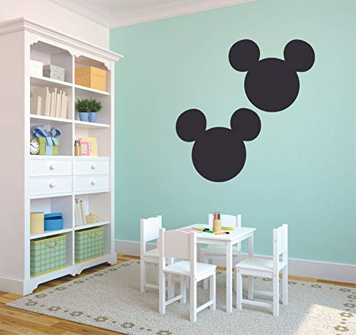Two Mickey Mouse Head Silhouette Disney Logo Cartoon Wall Sticker Art Decal for Girls Boys Room Bedroom Nursery Kindergarten House Fun Home Decor Stickers Wall Art Vinyl Decoration Size (10x8 inch)