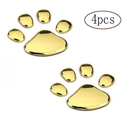 MINGZE 4 Piezas 3D Cromo Perro Pata Huella Etiqueta engomada del Coche, calcomanías de Coches, decoración Auto de la Etiqueta del Emblem (Dorado)