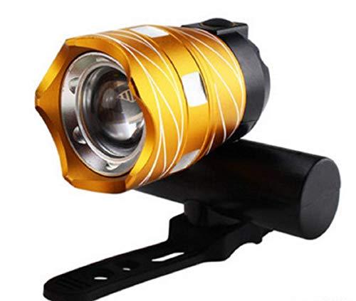 TIGOGZ Wiederaufladbarer Fahrradscheinwerfer Fahrradhelm Frontlicht 15000LM XM-L T6 LED MTB (Golden)