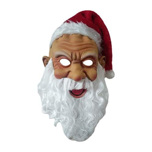 Bireegoo Diadema realista de ltex de Pap Noel con gorro rojo de Pap Noel y barba, novedad de Navidad, disfraz de Pap Noel, accesorios para disfraz de Navidad, fiesta de disfraces