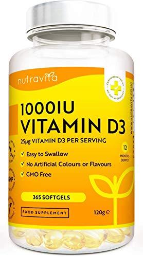 Vitamina D3 1000 IU - 365 Gel Capsula - Fornitura Per Un Anno   Integratore In Pillole Di Vitamina D Colecalciferolo Mantiene Normale Ossa, Denti, e Articolazioni Muscoli   Prodotto Da Nutravita
