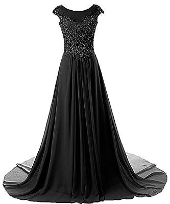 Prom Dress Long Formal Evening Gowns Lace Bridesmaid Dress Chiffon Prom Dresses Appliques Black US14W