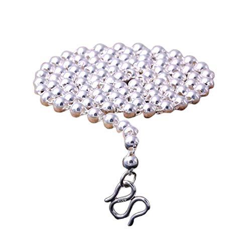Daesar Halskette Silber 990 Herren Bead-Kette 4 MM Breit 24 Inch Kette ohne Anhänger Partnerkette