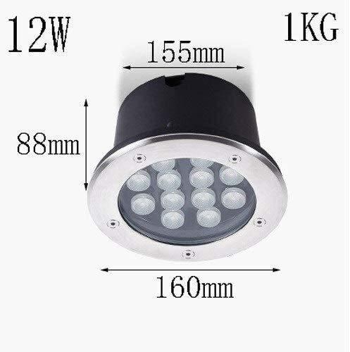 WXL U-Bahn-Licht-Lampe, wasserdicht IP67 RGB Unterwasser-runde Edelstahl-LED-Brunnen-Lampe In-Ground Buried-Licht-Landschaftsgartenteich Licht (Color : 12W, Size : White Light)