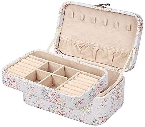 Caja de joyería, caja de almacenamiento de joyas portátil para pendientes, collares, anillos, pulseras, broche,A