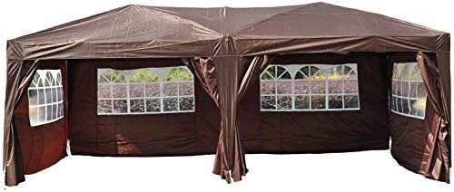 3 x 6m Garden Heavy Duty Pop Up Gazebo Marquee Party Tent Wedding Water Resistant Awning Canopy With free Storage Bag Coffee,Black ZHANGKANG (Color : Brown)