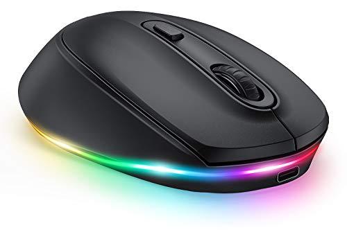 Funkmaus für Laptop, seenda Bluetooth Maus, LED Kabellose Mouse mit Beleuchtung, Leise Aufladbare 3 Modi Mäuse (BT3.0+BT5.0+2.4G), 2400 DPI Kompatibel mit Laptop/PC/Mac/IOS/Android/Tablet(Schwarz)