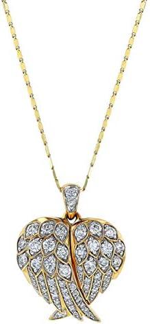 Olivia Paris 14K Yellow Gold Angel Wings 1 CT Diamond Locket Pendant Necklace product image