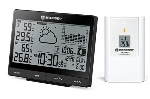 Bresser Wetterstation Funk mit Außensensor mit Anzeige für Temperatur, Luftfeuchtigkeit, Luftdruck und Mondphasen inklusive Wettervorhersage, schwarz