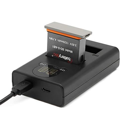 Batterytec Batteria di Ricambio per Action Camera e Kit Doppio Caricatore a LED per DJI OSMO Action AB1. [Ricaricabile, 12 Mesi di Garanzia]