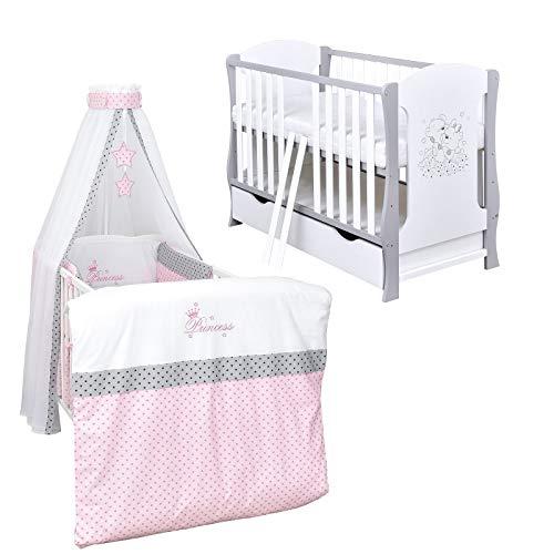 Baby Delux Babybett Komplett Set Kinderbett umbaubar zum Juniorbett weiß grau 120x60 Bettset Matratze in vielen Designs (Princess Stars)