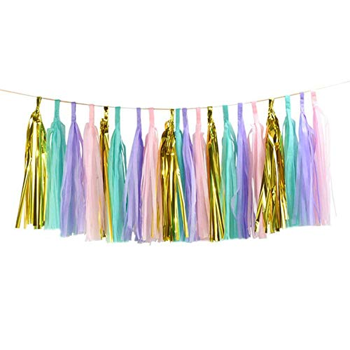 JLWS 1Set Mixed DIY Tissue Paper Tassel Garland for Wedding Kids Birthday Party Decorations Baby Shower Favors Supplies,20pcs style1