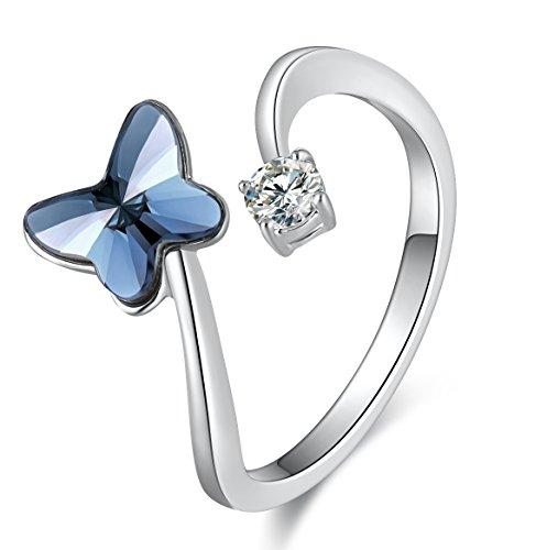 SUE'S SECRET Anillo Mujer - Cristales Mariposa de Swarovski - Abierto Ajustable Regalos de Joyería - Anillos de circonio cúbico