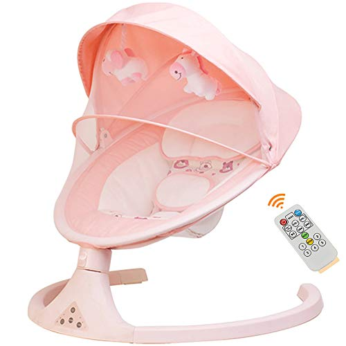 OOFAJ Electric Baby Bouncer Chair with Remote Control,Foldable and Removable Mosquito Net,5 Swing Amplitudes & 3-Stage Timing Function,Wireless Bluetooth USB Music Rocking Bed for Newborn Infant,Pink