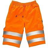 RASH Accessories Pantalones cortos de forro polar de alta visibilidad para el trabajo, con múltiples bolsillos, súper suaves, S-5XL