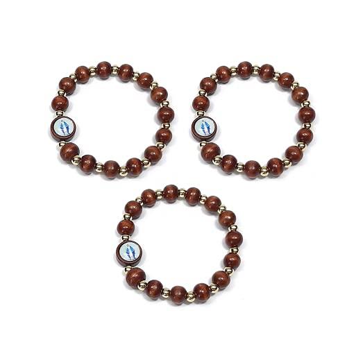 DELL'ARTE Artículos religiosos, juego de 3 rosario pulsera de madera